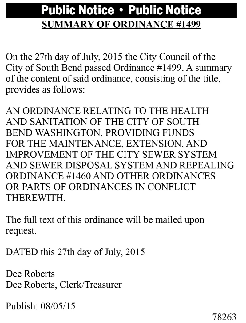 LEGAL 78263: SUMMARY OF ORDINANCE #1499