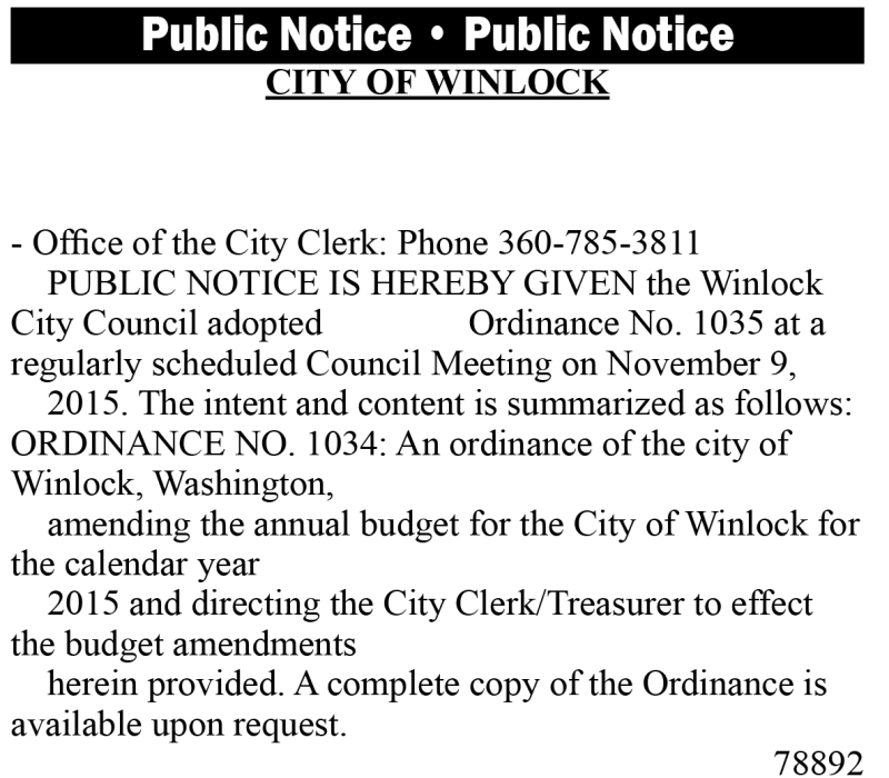 Legal 78892: City of Winlock adopted Ordinance No. 1035