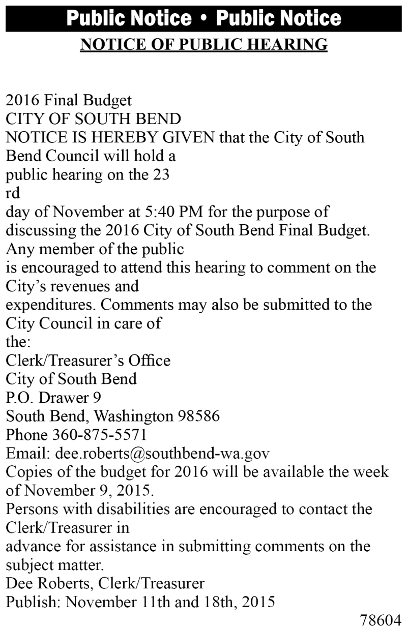 Legal 78604: Notice of Public Hearing
