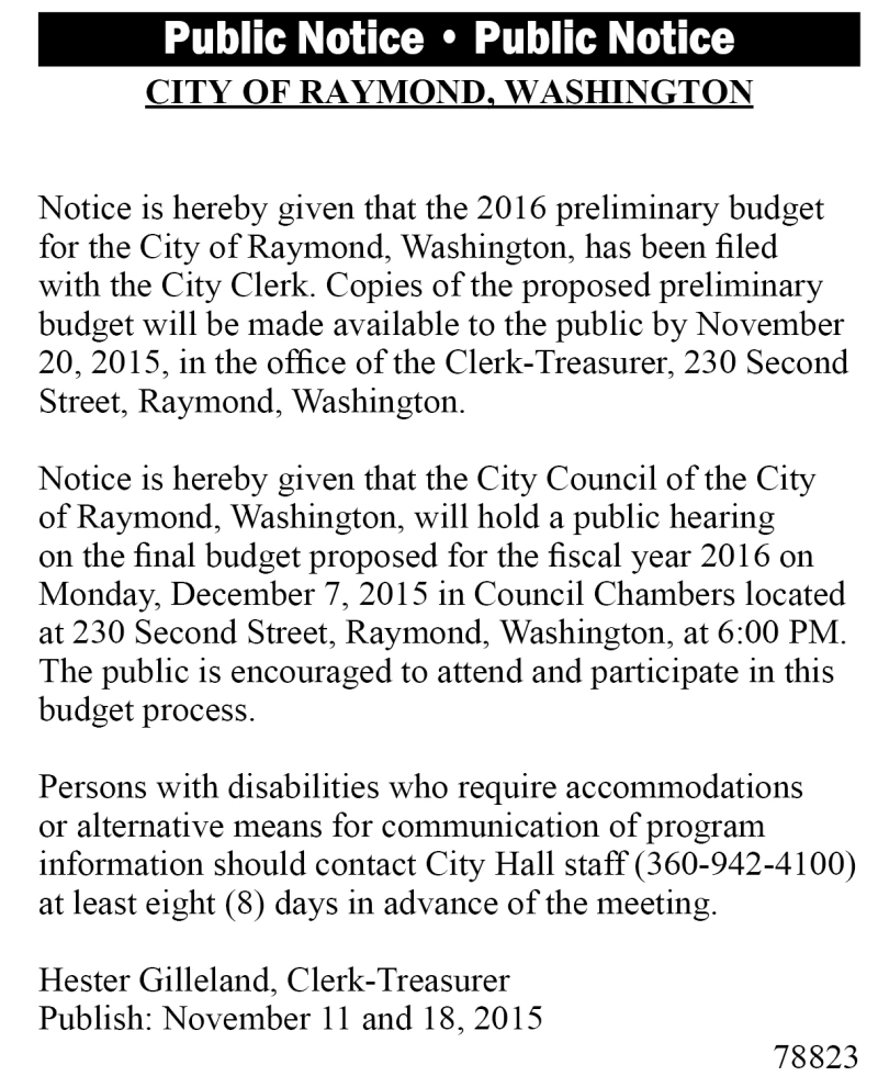 Legal 78823: 2016 preliminary budget for the City of Raymond filed