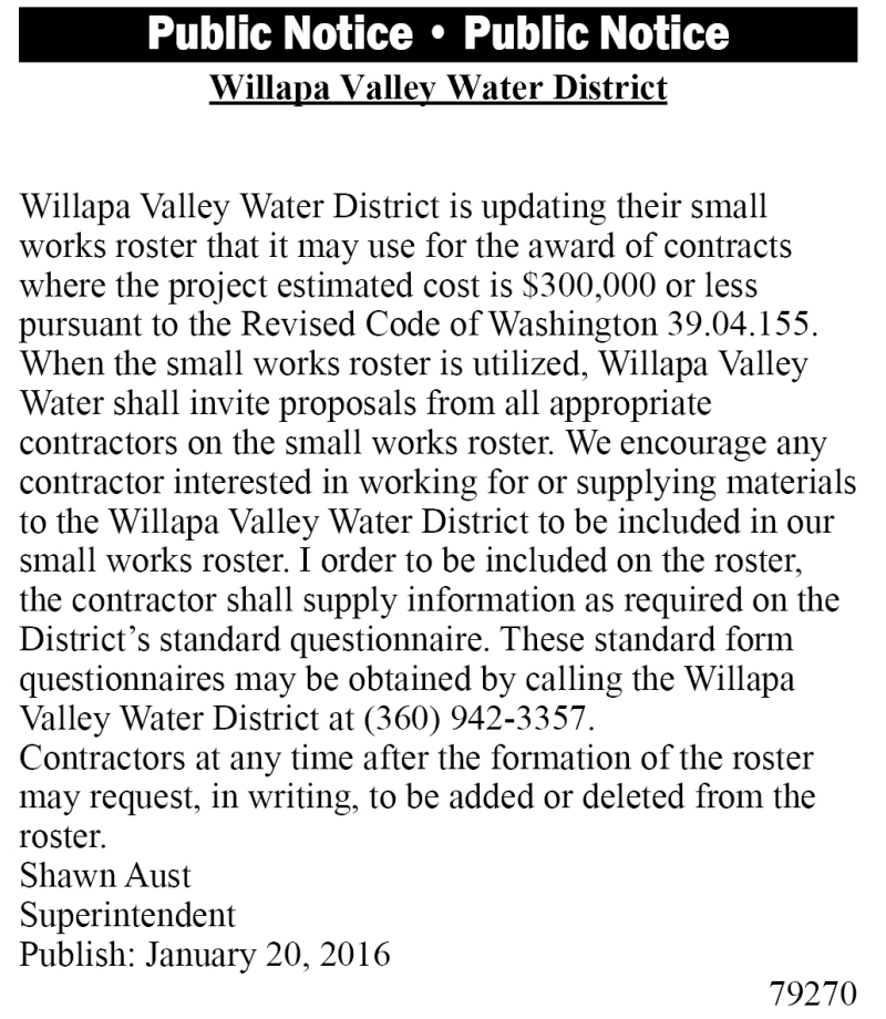 LEGAL 79270: WILLAPA VALLEY WATER DISTRICT