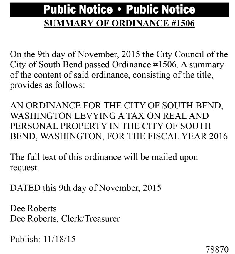 Legal 78870: Summary of Ordinance #1506