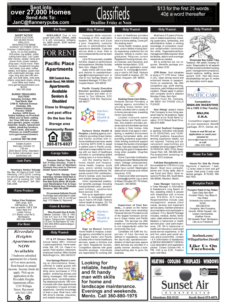 Classifieds 10.12.16