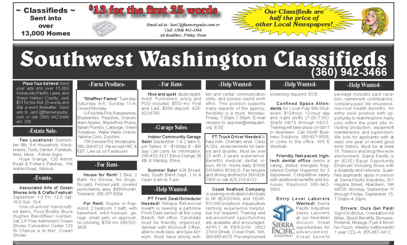 Classifieds 8.30.17