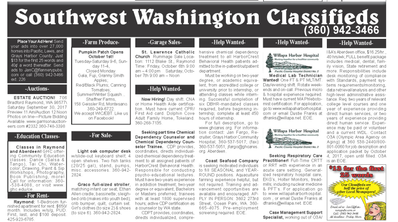 Classifieds 9.27.17