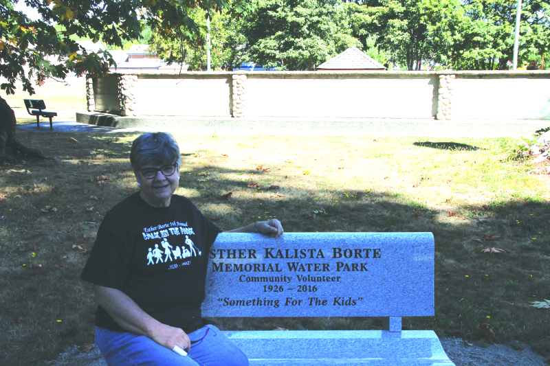 Esther Borte Memorial Water Park Bench installed