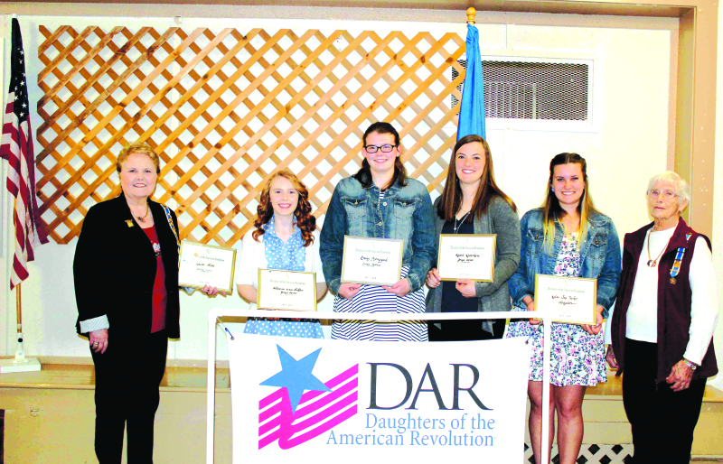 Pictured Left to Right: Vera McGuire, Chapter Regent; Lucas White, Oakville High School (not pictured); Allianna Grace Shaffer, Aberdeen Weatherwax High School;  Emily Bjornsgard, Ocosta High School: Kasie Kloempken, Montesano High School: Kelci Joy Parke