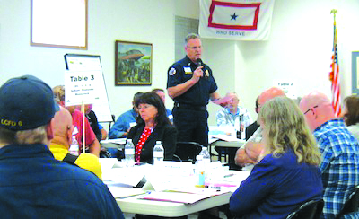 Photo courtesy of Lewis County Sirens - Ken Cardinale discusses earthquake preparedness to the community.