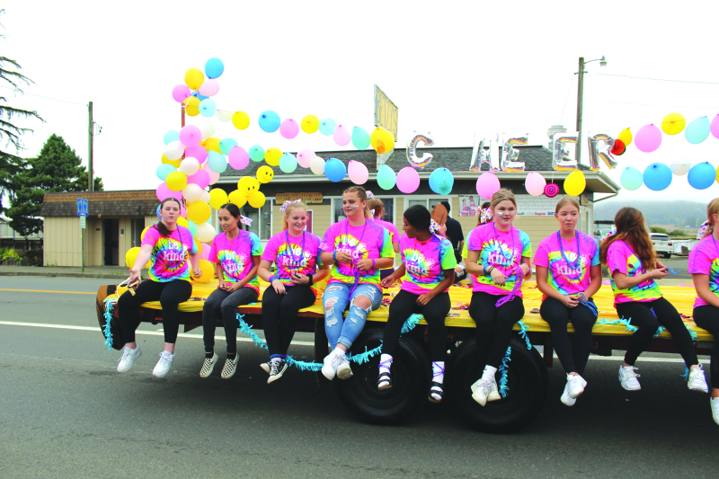 Photo by George Kunke - Members of the Raymond-South Bend Cheer team were the Sweepstakes Trophy winners for this year's Come and Play on Labor Day Grand Parade earlier this month.