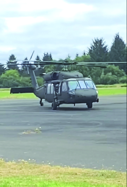 Photo by Scott McDougall - Washington Army National Guard landed at the Port of Willapa Airport on Thursday, July 23.
