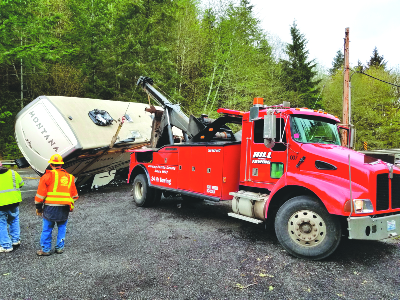 Fifth-wheel overturns on State Route 6