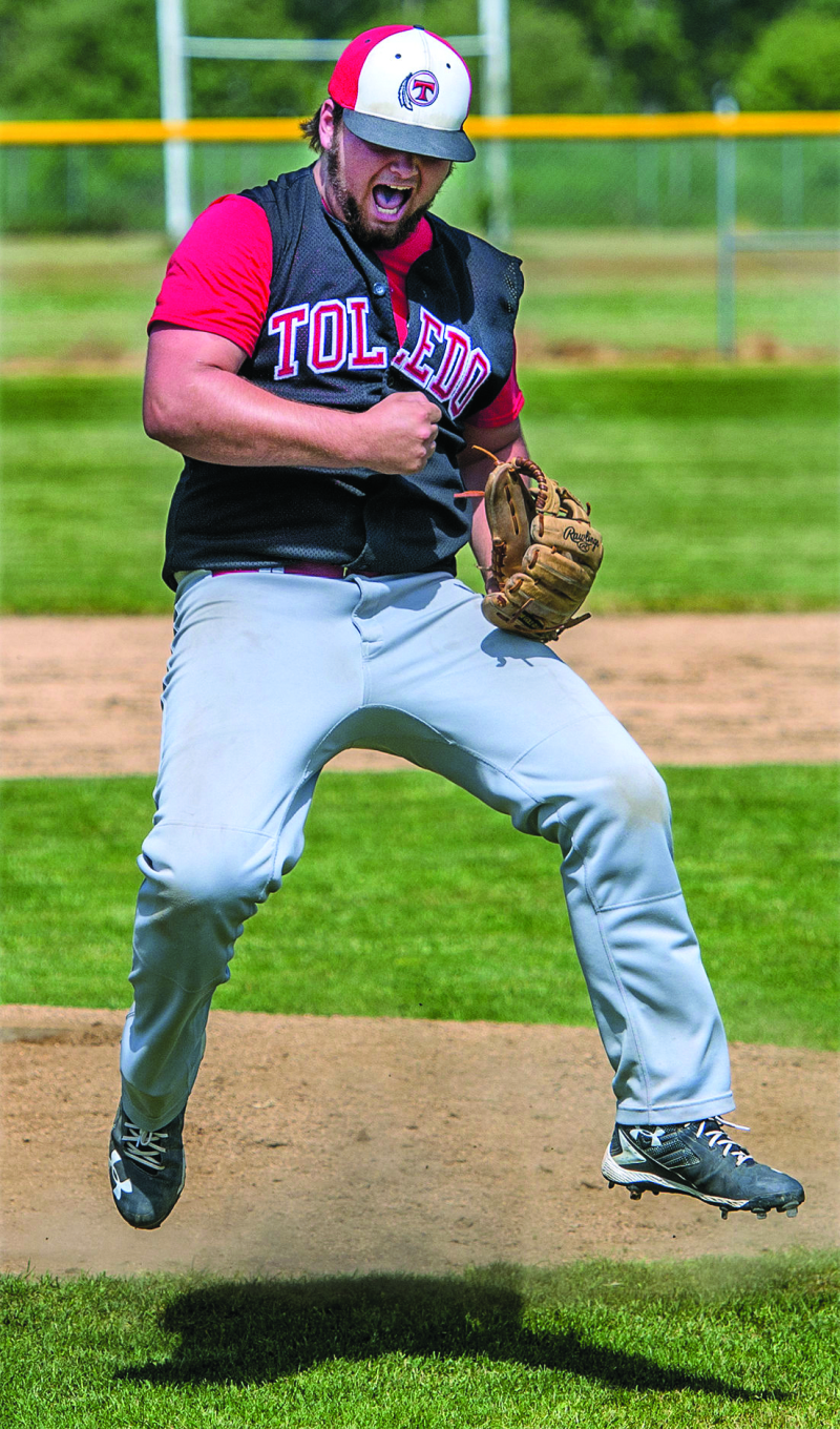 Photo taken by Nick Werth - Connor Vermilyea celebrates after striking out Connor Weed and defeating Adna. Toledo won 8-6.