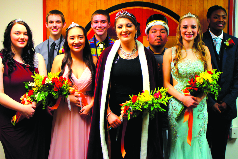 Photo by Larry Bale - From left are SBHS seniors Sage Baker, Jacob Strozyk, Sinda Chann, Barret Houk, Queen Diana Morales, King Miguel Morales, Hannah Byington and Cody Jones.
