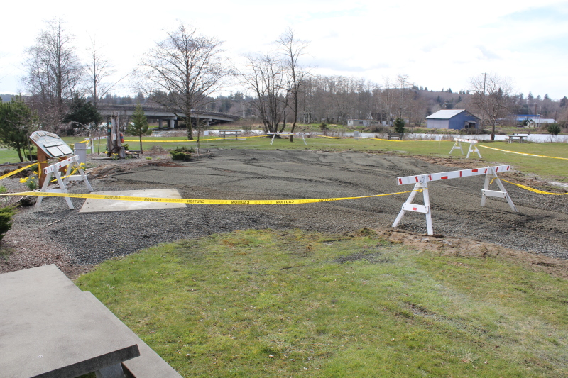 Photo by Jeff Clemens - Ongoing repair work in the park near the Northwest Carriage Museum.