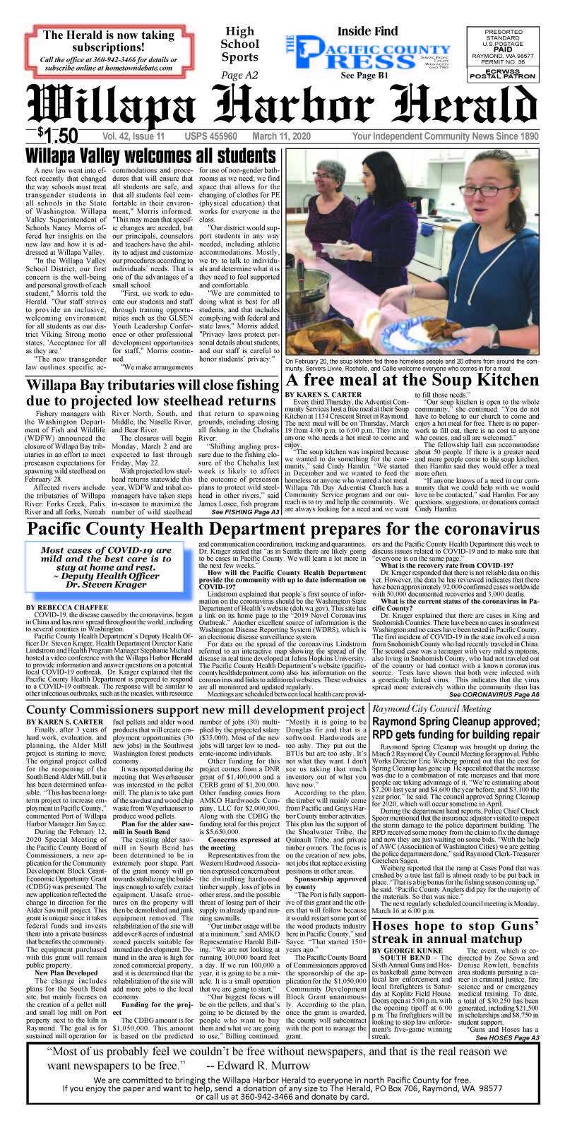 March 11, 2020 Willapa Harbor Herald and Pacific County Press
