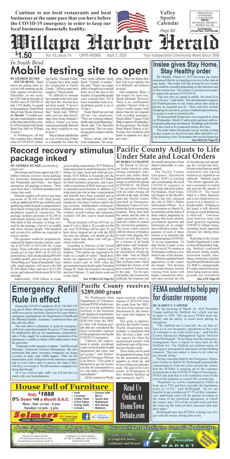 April 1, 2020 Willapa Harbor Herald and Pacific County Press