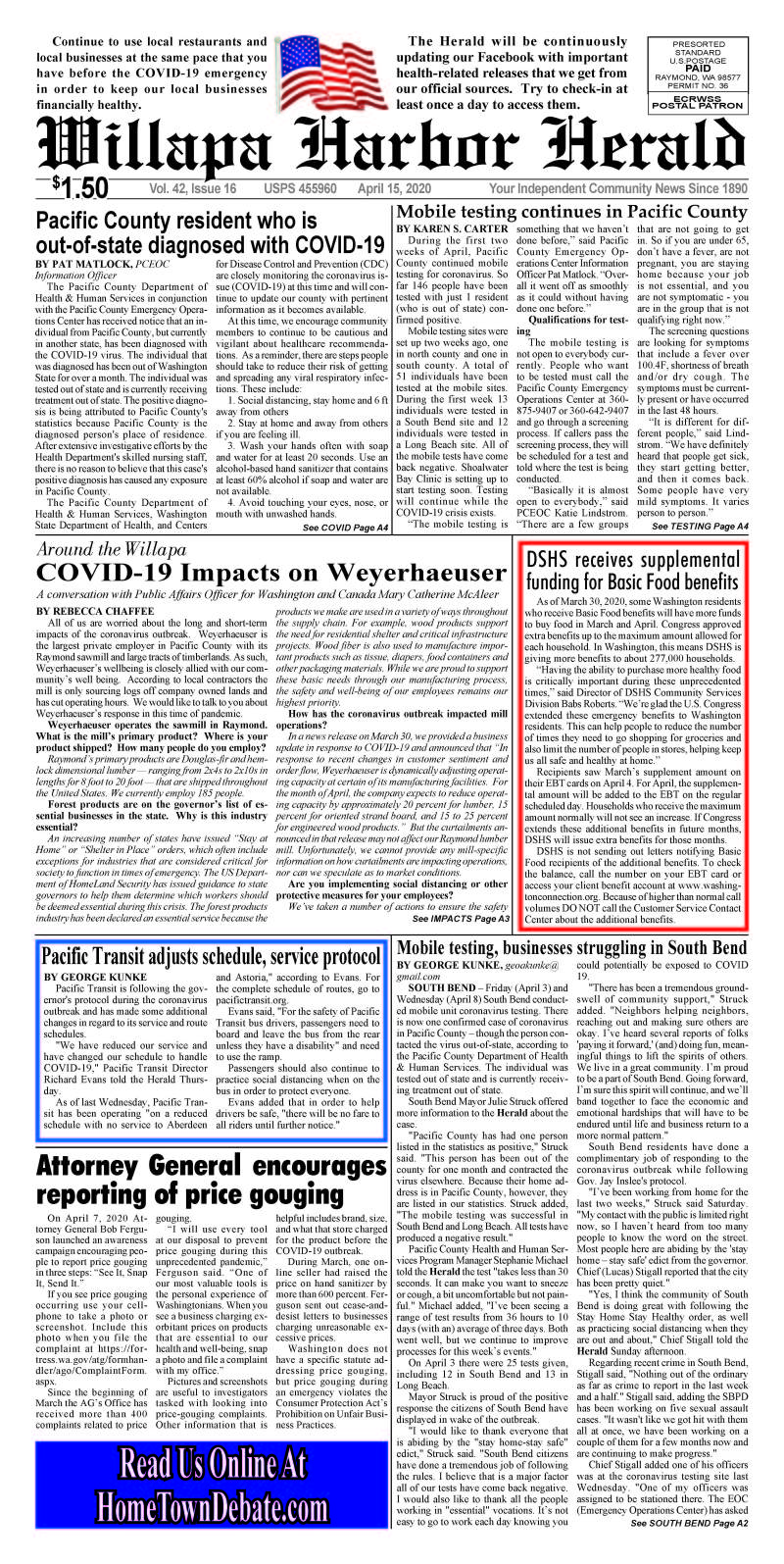 April 15, 2020 Willapa Harbor Herald and Pacific County Press