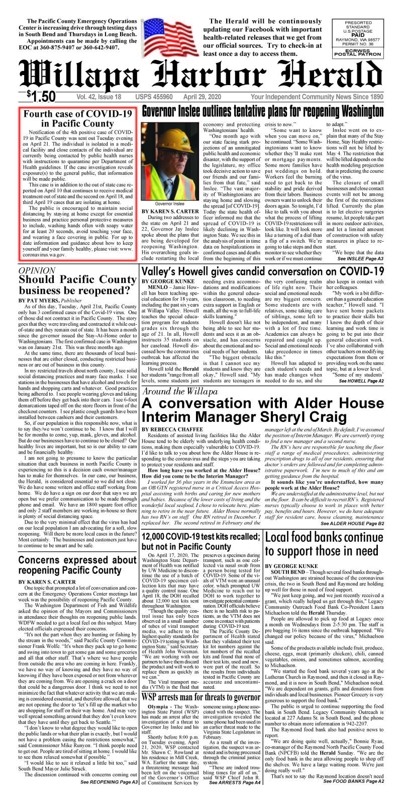 April 29, 2020 Willapa Harbor Herald and Pacific County Press