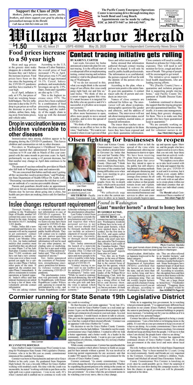 May 20, 2020 Willapa Harbor Herald and Pacific County Press