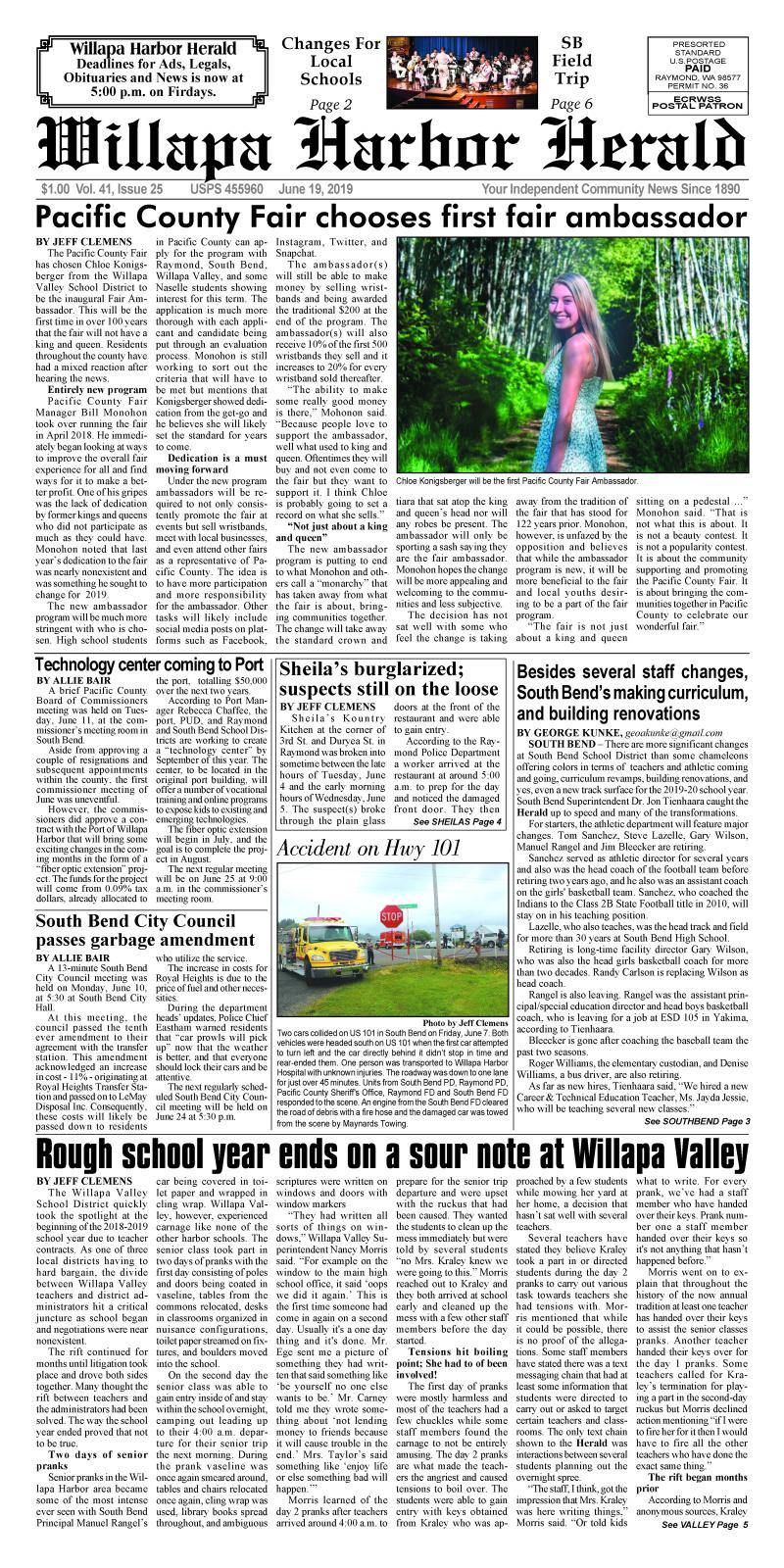 June 19, 2019 Willapa Harbor Herald