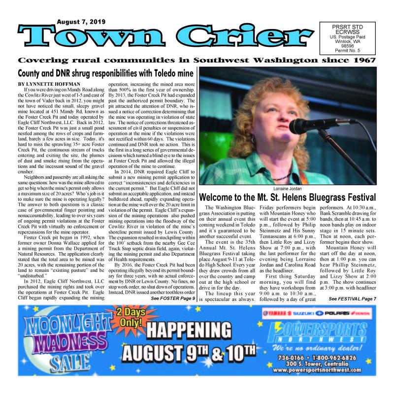 August 7, 2019 Town Crier