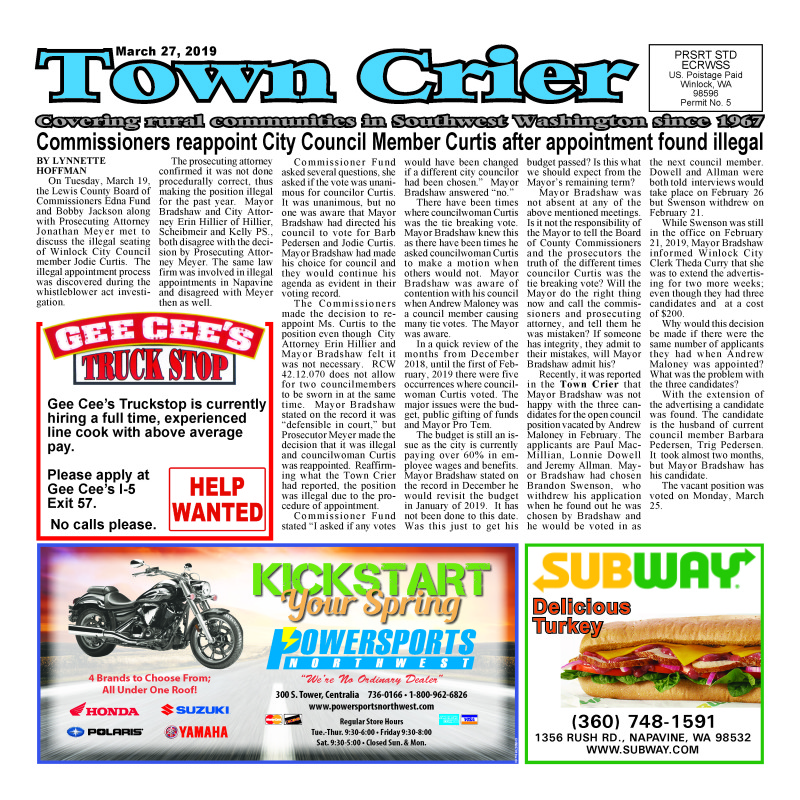 March 27, 2019 Town Crier