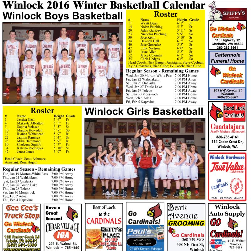 Winlock 2016 Winter Basketball Calendar