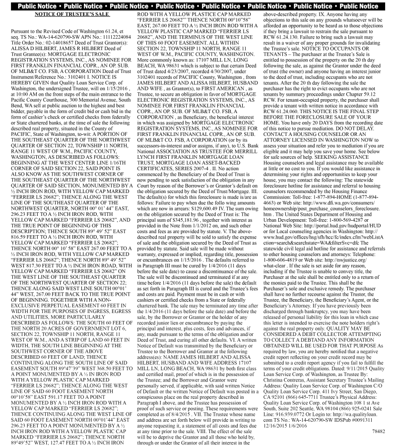 LEGAL 78482: NOTICE OF TRUSTEE'S SALE