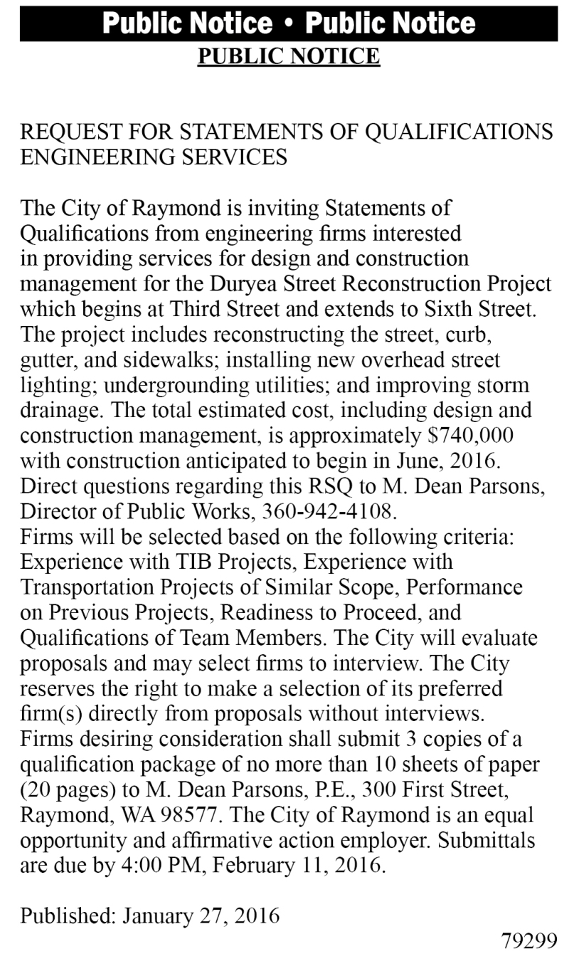 LEGAL 79299:  REQUEST FOR STATEMENTS OF QUALIFICATIONS  ENGINEERING SERVICES