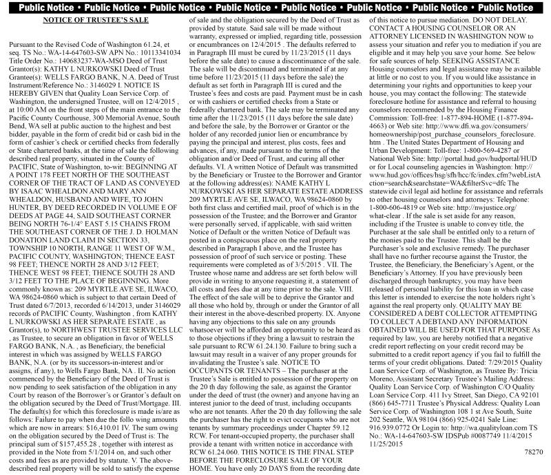 Legal 78270: Notice of Trustee's Sale