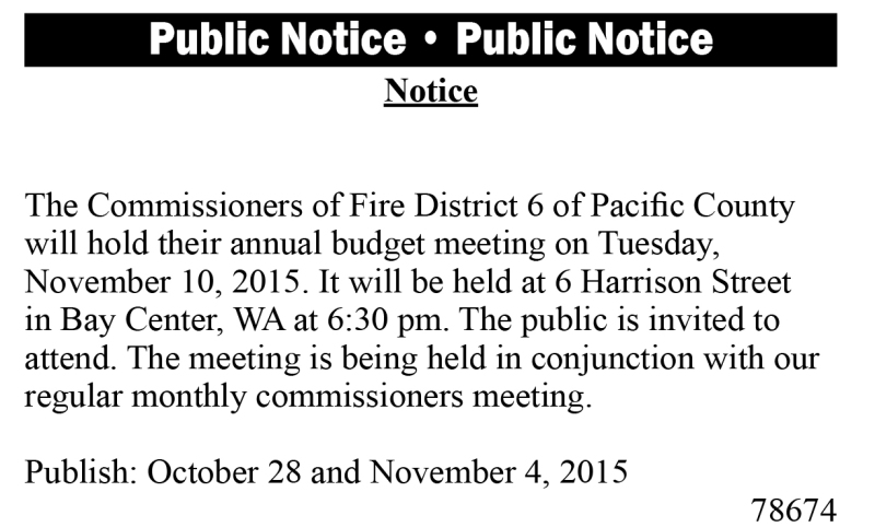 Legal 78674: Fire District 6 Notice