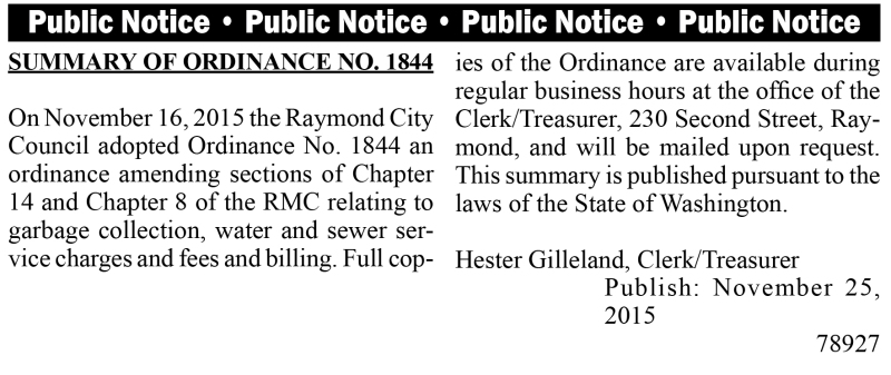 LEGAL 78927: Summary of Ordinance No. 1844