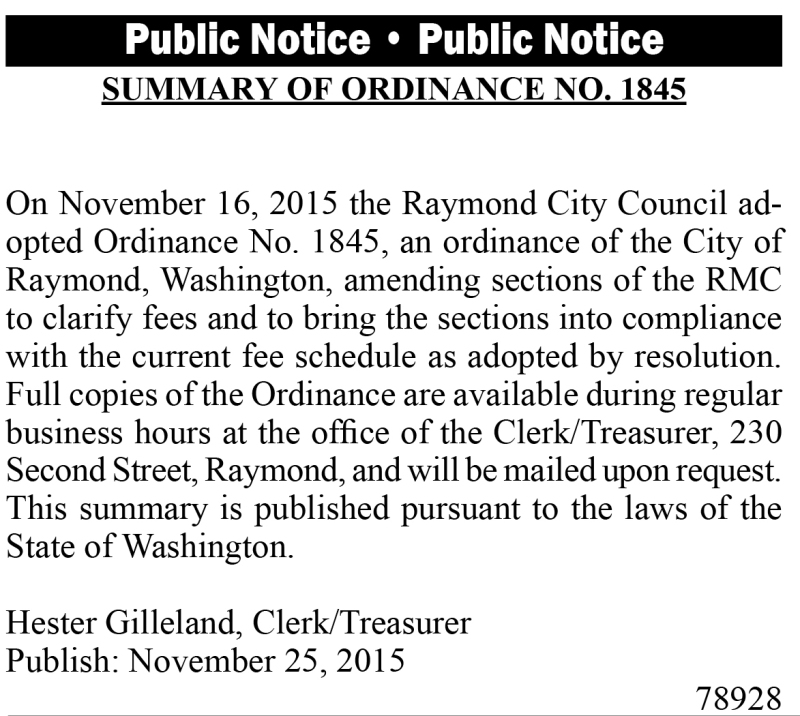 LEGAL 78928: Summary of Ordinance No. 1845