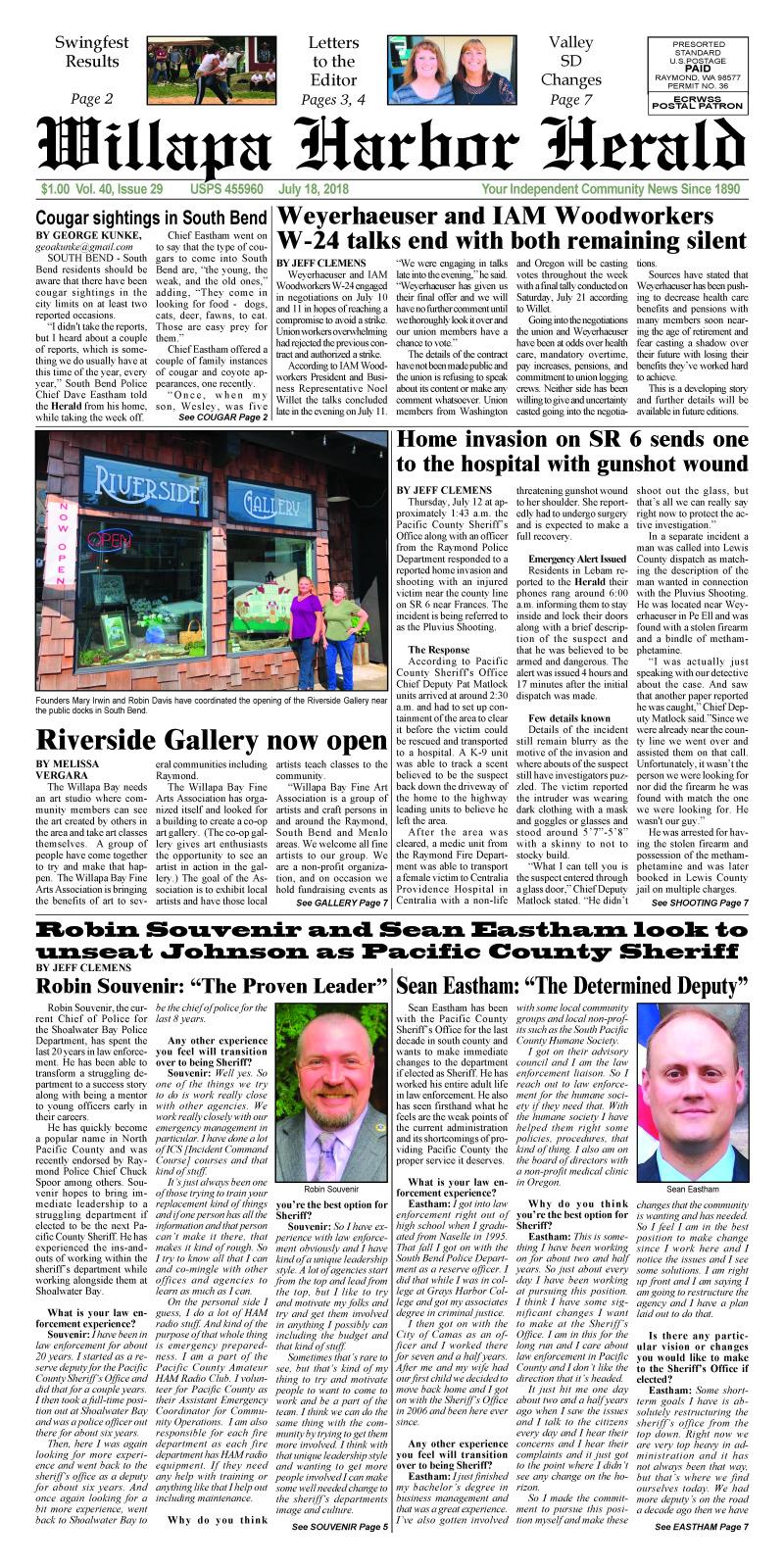 July 18, 2018 Willapa Harbor Herald