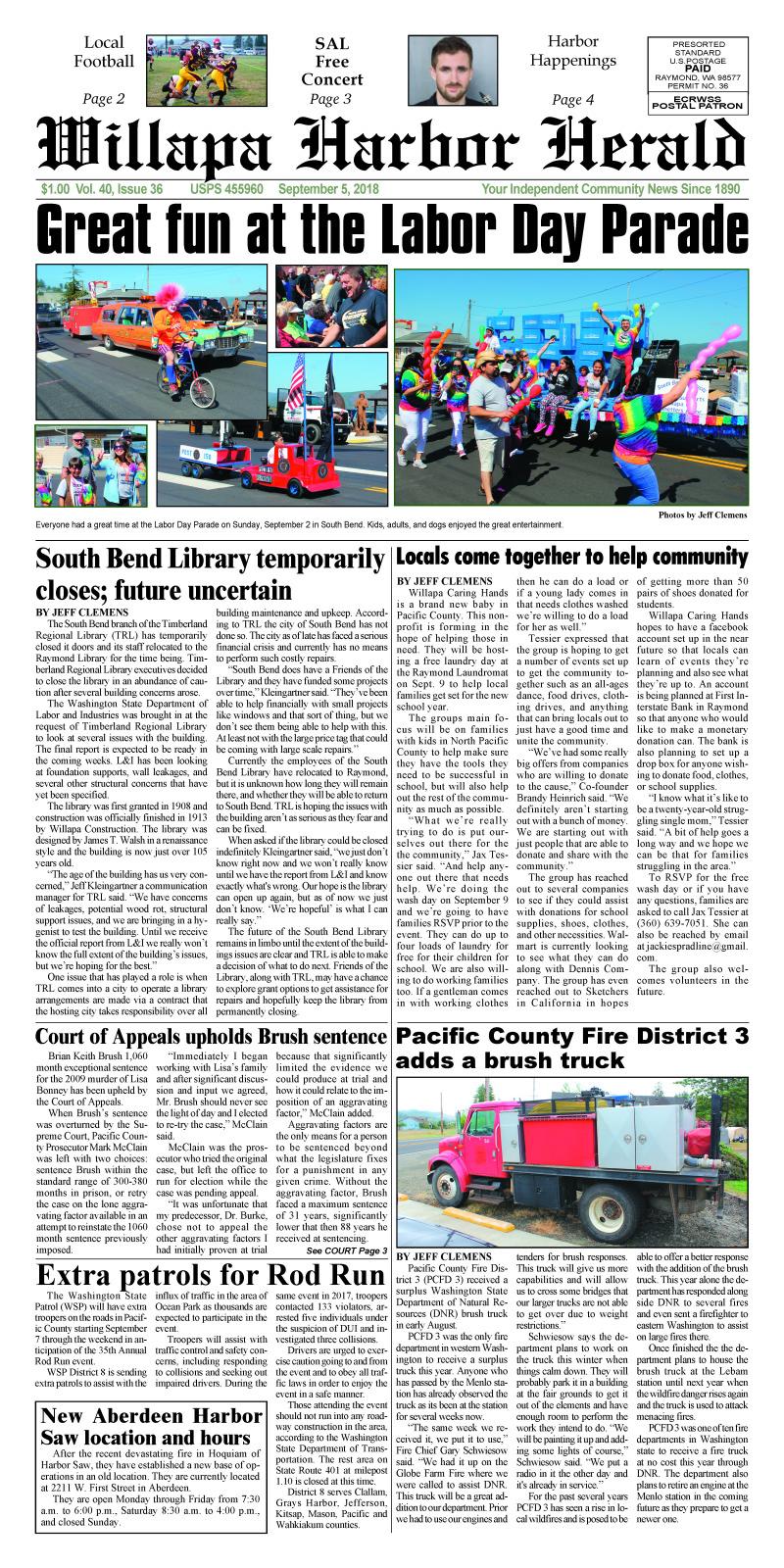 September 5, 2018 Willapa Harbor Herald