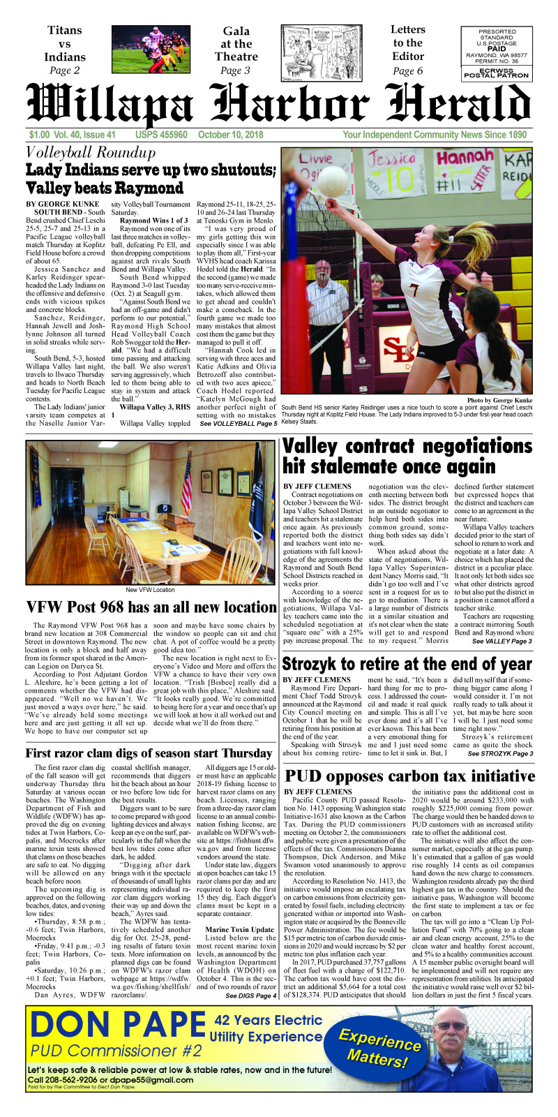 October 10, 2018 Willapa Harbor Herald