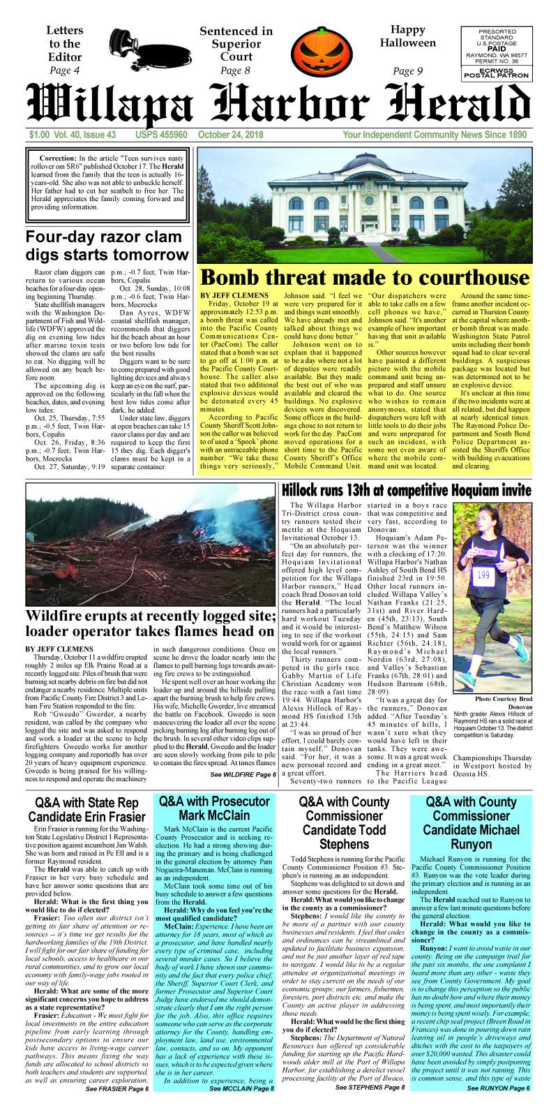 October 24, 2018 Willapa Harbor Herald
