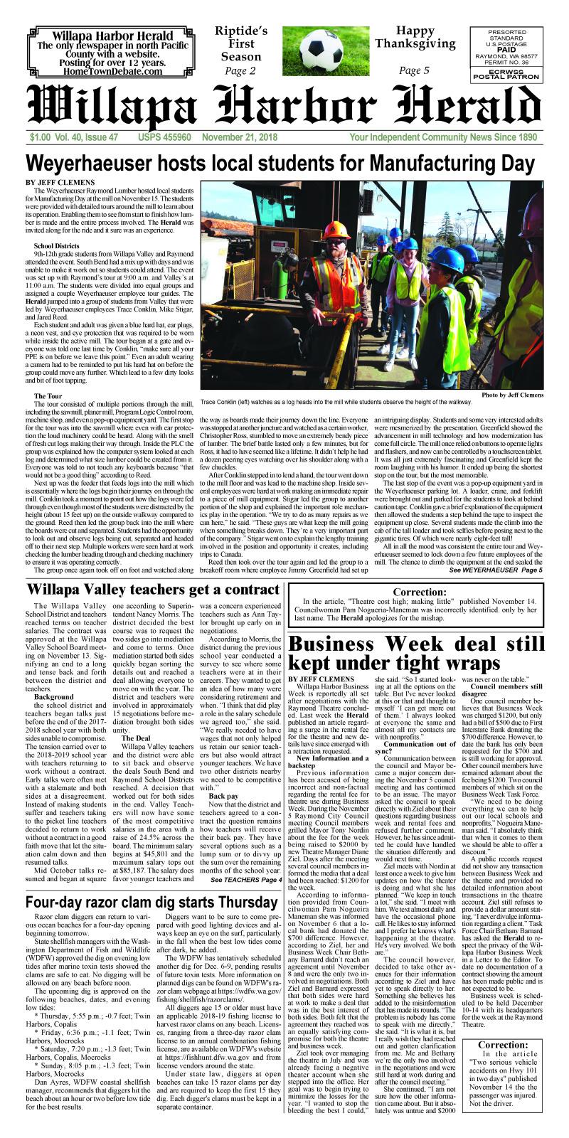 November 21, 2018 Willapa Harbor Herald