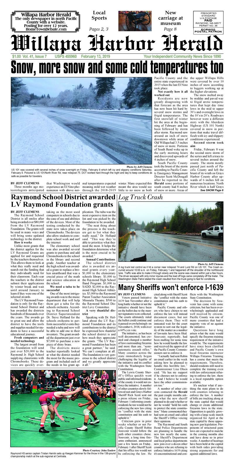 February 13, 2019 Willapa Harbor Herald