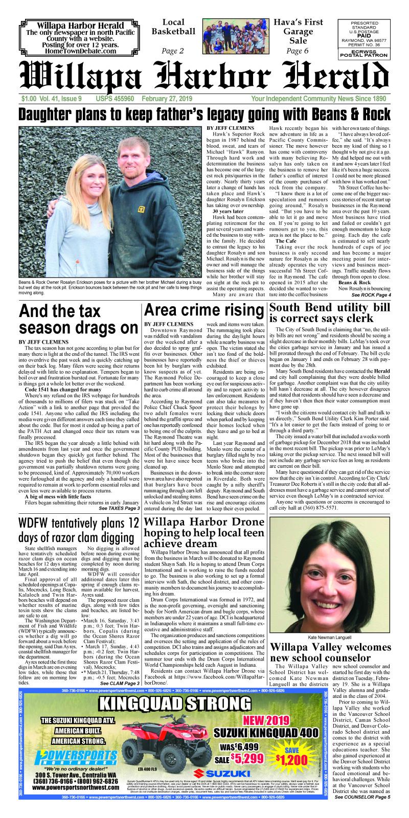 February 27, 2019 Willapa Harbor Herald