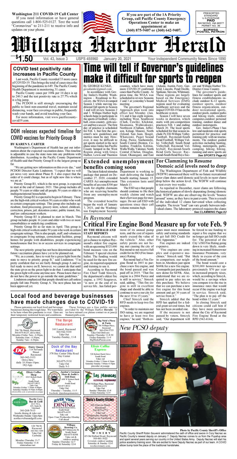 January 20, 2021 Willapa Harbor Herald and Pacific County Press