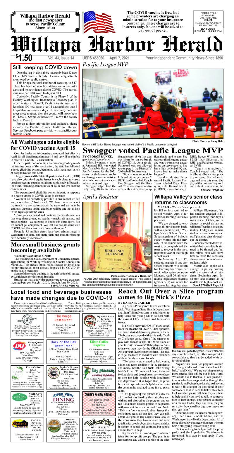 April 7, 2021 Willapa Harbor Herald and Pacific County Press