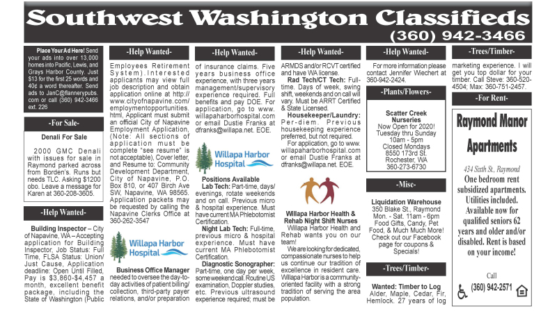 Classifieds April 29,2020
