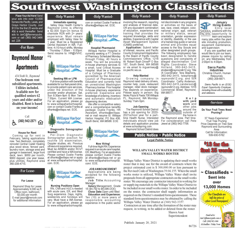 Classifieds 1.20.21