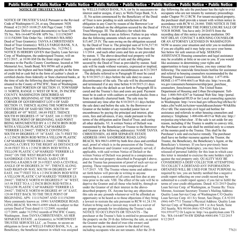 Legal 77621: NOTICE OF TRUSTEE'S SALE