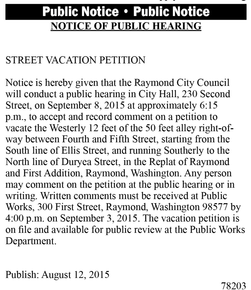 Legal 78203: STREET VACATION PETITION