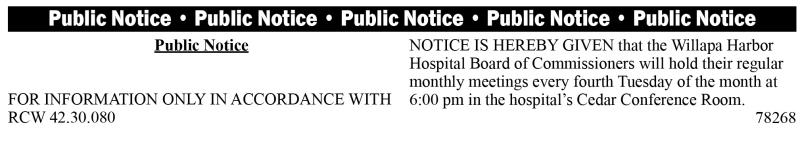 legal 78268: Willapa Harbor Hospital Board meeting