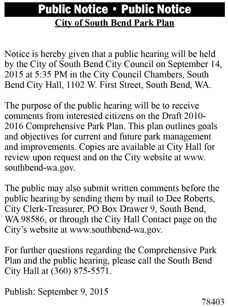 LEGAL 78403: City of South Bend Park Plan