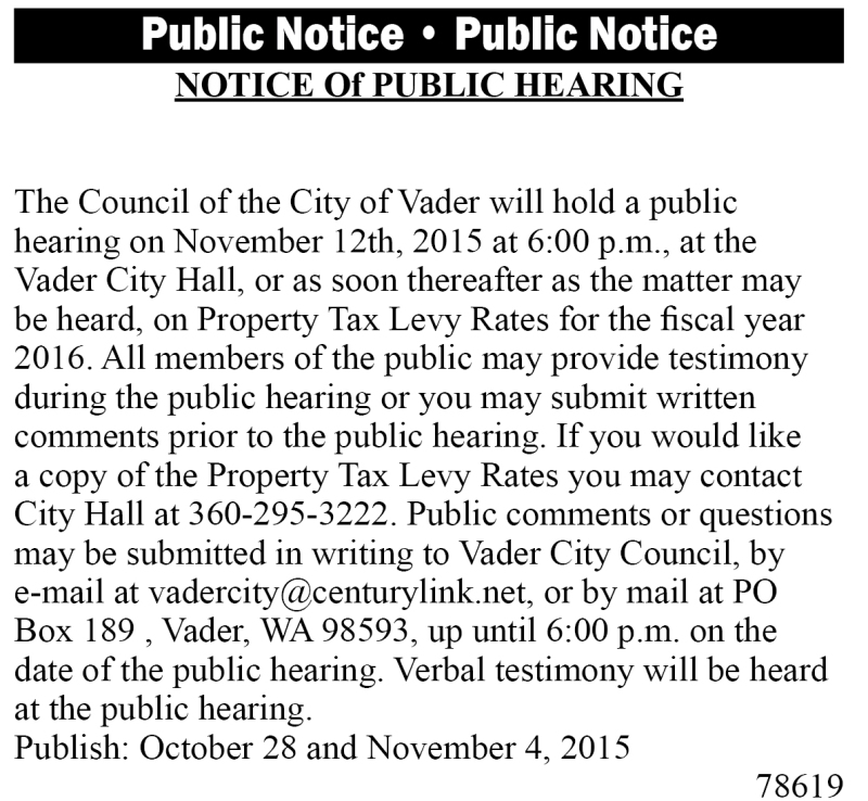 Legal 78619: Notice of Public Hearing