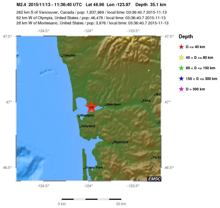 Earthquake near Hoquiam